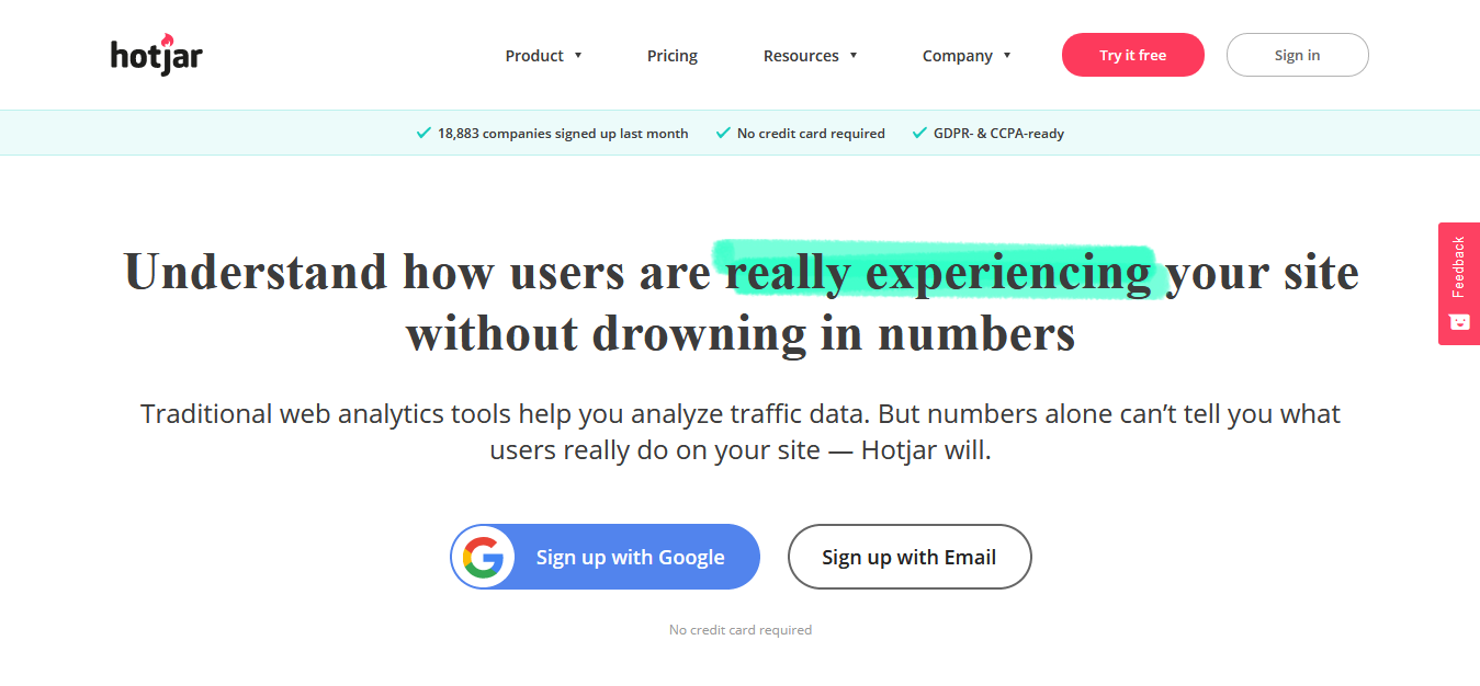 Hotjar Website Heatmaps Behavior Analytics Tools